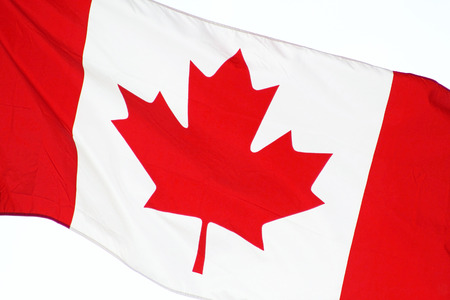 symbolical: Close up of the CANADA flag  flying free on Canada Day Stock Photo