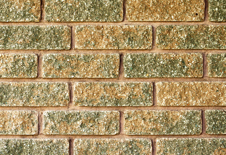 two tone: Close up of laid brick in two tone color of red and moss green