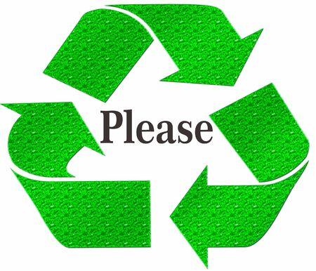 logo recyclage: S'IL VOUS PLAÎT Recycle Symbol isolé sur un fond blanc