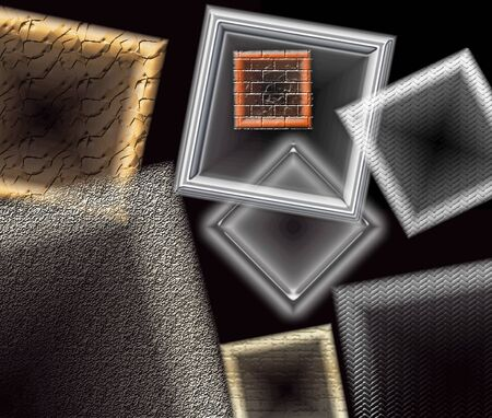 metalic texture: Window frames and geometrical shapes floating against a black wall background Stock Photo