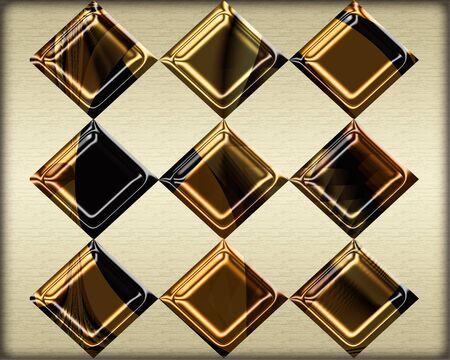 Diamond grid pattern in textured metallic gold on neutral background Stock fotó