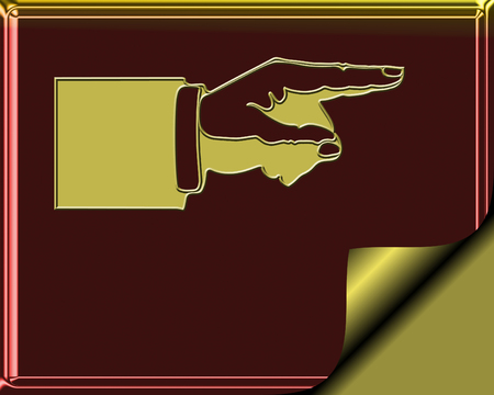 page curl: Elegant Burgundy and gold colored stationary with gold page curl - hand pointing to show direction