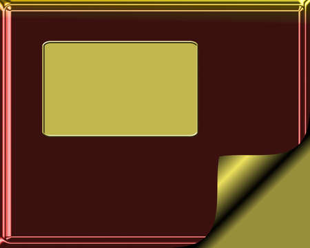 page curl: Elegant Burgundy and gold colored stationary with gold page curl
