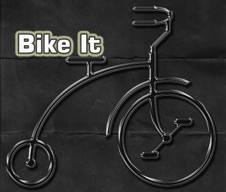 short phrase: Abstract metal bicycle on a worn black background with the words BIKE IT