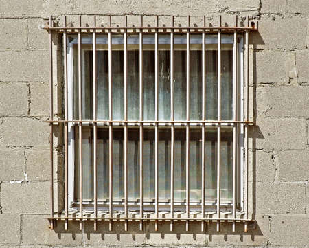 intrusion: Exterior window with Safety Bars to prevent intrusion and theft Stock Photo