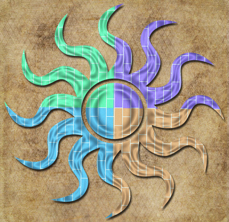 squiggly: Colorful Sun Medallion on textured brown background
