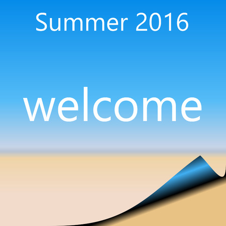 sandy: Summer 2016 Abstract page with blue sky and sandy beach.  WELCOME with page curl bottom right Stock Photo