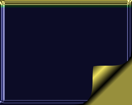 navy blue: Elegant navy blue and gold colored stationary with page curl