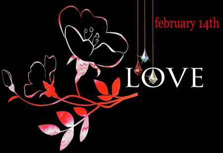 february 14th: Floral Valentine on a black background for February 14 with LOVE