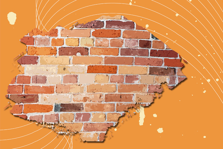 wall bricks: Abstract brick wall against a vibrant orange background