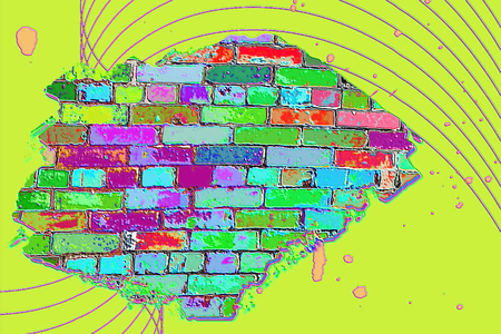 wallpaper vibrant: Abstract brick wall in vibrant psychedelic colors Stock Photo