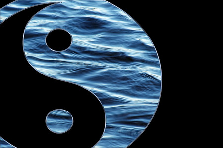 Blue water Yin Yang symbol isolated on a black background