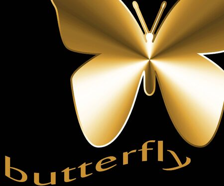 Gold Butterfly on black background Stock Photo