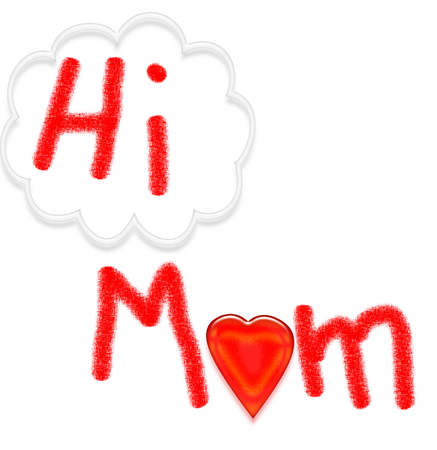 child's: HI MOM card - childs artwork on white background