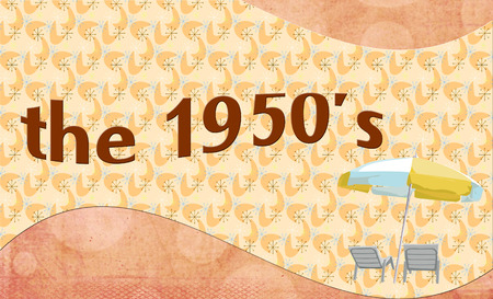 patio chairs: The 1950s -  banner style background with summer patio chairs and umbrella Stock Photo