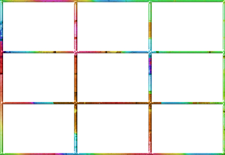 Abstract window with nine white squares in a brightly colored frame