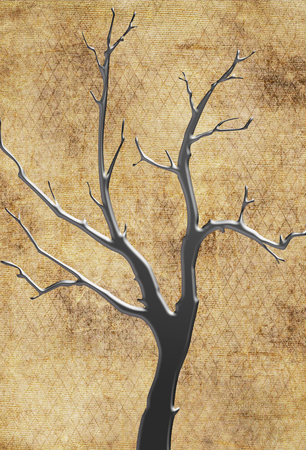 Abstract spindly tree in silver metallic against a brown textured background Stock fotó