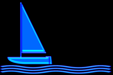 Abstract blue neon sailboat on bright blue waves.  Isolated on a black background