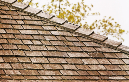 Cedar shingle roof with some tree debris and small amounts of moss