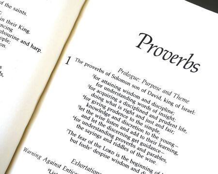 The Bible opened to the Book of Proverbs Chapter One