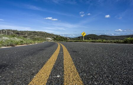Low angle view of asphalt in the road of countryside, Serro, Minas Gerais, Brazil