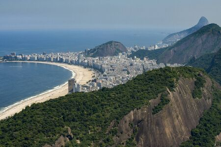 View of Copacabana and the Atlantic Forest on foreground, Rio de Janeiro, Brazil