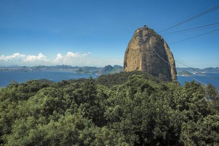 View of Sugar Loaf and the Atlantic forest, with the sea on background, Rio de Janeiro, Brazil