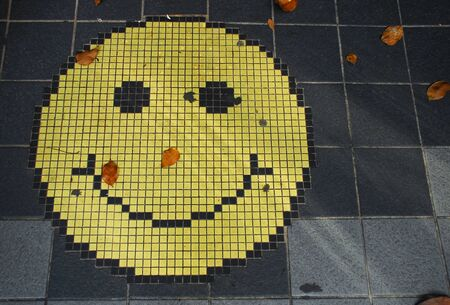 Mosaic of an smiling face emoticon on a gray tiles sidewalk, and some fallen tree leaves Stok Fotoğraf