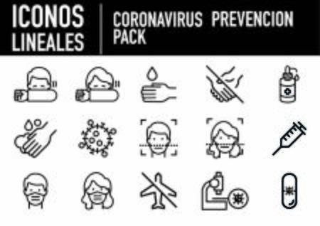 Covid-19 prevention linear icons Vektorgrafik