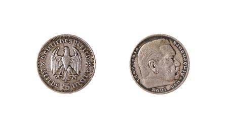 german mark: german coin reichs mark hindenburg vintage
