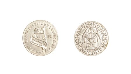 numismatic: german coins vintage 1436 silver isolated iohannes fridericus