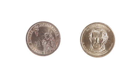 obverse: dollar one coin obverse revers isolated