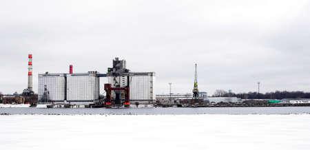 riga: port industrial winter riga
