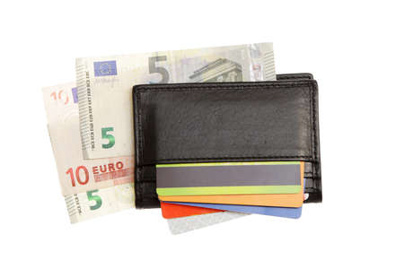 change purses: wallet with credit cards and euro money