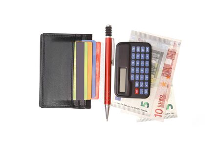 credit union: wallet with credit cards and euro money