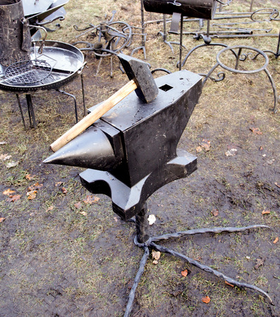 forge: forge anvil christmas market Stock Photo