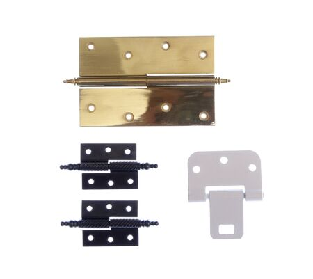 hinges: Different modern and vintage metal hinges for doors opening isolated on white