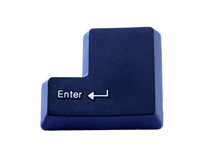 transfering: computer highlighted enter key button on white background Stock Photo