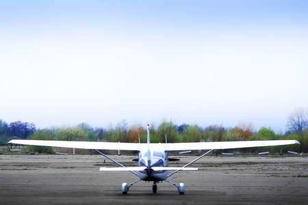 stabilization: propeller airplane ready to fly on airfield