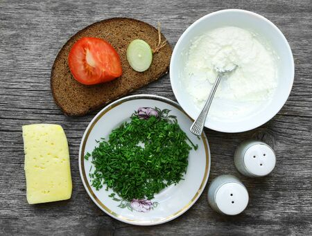 spring onions: ethnic breakfast with bread cheese curd and spring onions