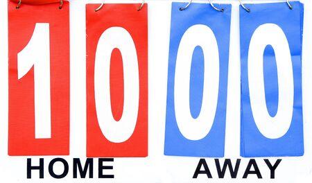 scored: scoreboard home wins vs away lose ten points Stock Photo