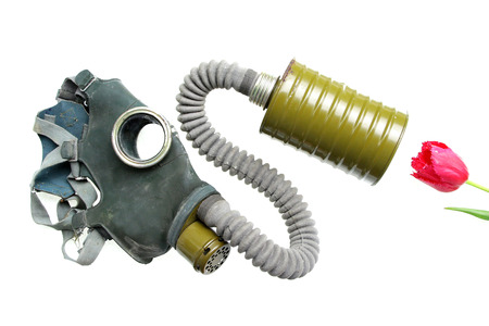 representing: breathing gas mask oxygen smelling flower representing pollution and industrial breakdown