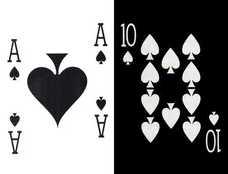 ten best: best classic winning blackjack combination ten and ace of spades Stock Photo