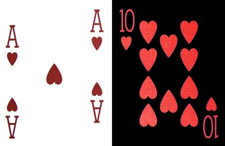 ten best: best classic winning blackjack combination ten and ace of hearts Stock Photo