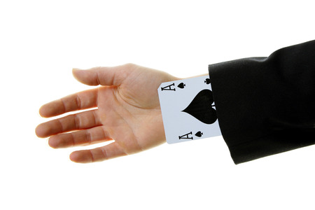 strongest: an ace up your sleeve on white background isolated showing