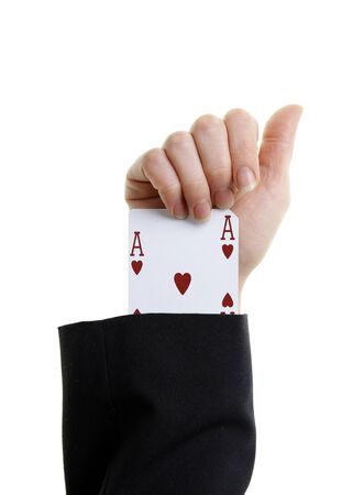 ace of hearts: an ace up your sleeve on white background showing hearts Stock Photo
