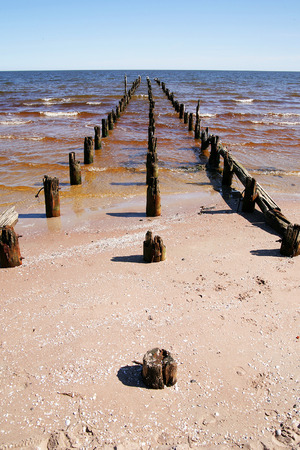 very: very old vintage stakes in baltic sea