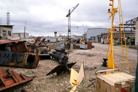 shipyard: abandoned shipyard with rusted engines with vintage gin