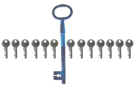 multiple personality: old big vintage forged key standing out from the crowd with small modern stock