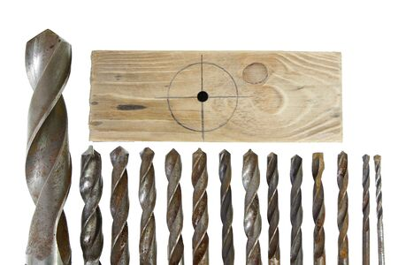 leader group of vintage rusted drill bits metal wood on white background